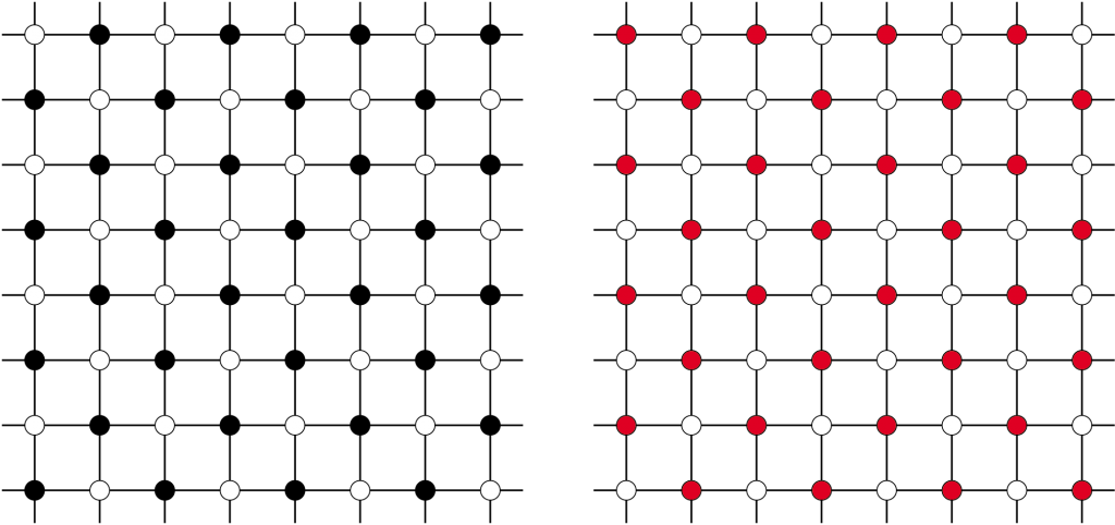 Figure 3: Even and odd configurations of a network with a lattice structure.